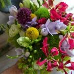 Bouquet colorista compuesto por Dianthus verdes, Fresia malva, craspedia, lisianthus verda, alchemilla, alstroemeria fucsia y flores de gloriosa