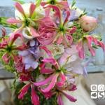 Ramo de novia en tonos cremas compuesto por peonia, rosa inglesa, fresia, sedum y glariosa.